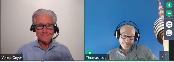 Volker Geyer und Thomas Issler live beim Webinar